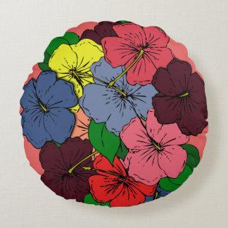 Cojín Redondo El hibisco multicolor florece #2