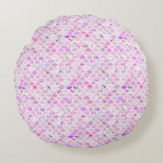 Cojín Redondo Escalas de mármol rosadas y púrpuras de la sirena
