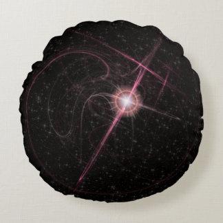 Cojín Redondo Explosión rosada brillante de la estrella
