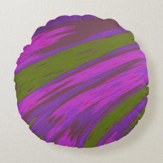 Cojín Redondo Extracto del chasquido del color púrpura y verde