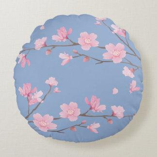 Cojín Redondo Flor de cerezo - azul de la serenidad - FELIZ