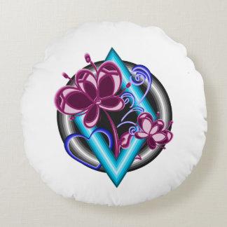 Cojín Redondo Flores púrpuras en la decoración azul del hogar