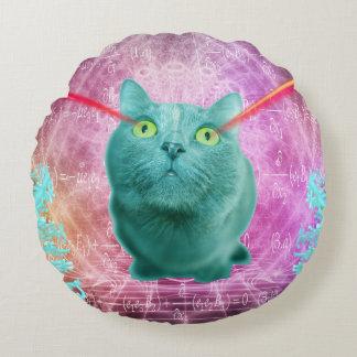 Cojín Redondo Gato con los ojos del laser