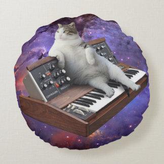 Cojín Redondo gato del teclado - memes del gato - gato loco