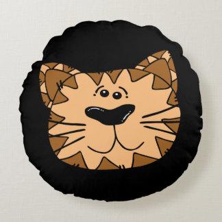 Cojín Redondo Gato salvaje sonriente del dibujo animado