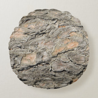 Cojín Redondo Gris, corteza de árbol de pino del moreno
