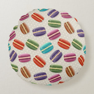 Cojín Redondo Macarrones coloridos con el merengue dulce