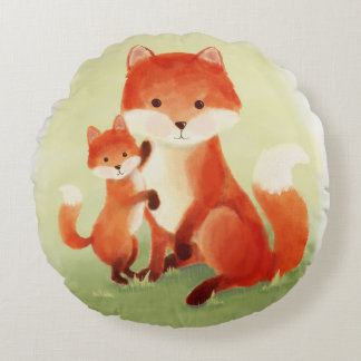 Cojín Redondo Mamá y Cub del Fox