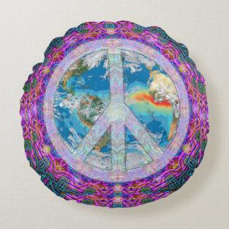 Cojín Redondo Mandala de la paz de mundo