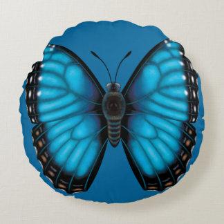 Cojín Redondo Mariposa azul de Morpho dorsal y ventral