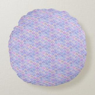Cojín Redondo Modelo púrpura del pastel de la sirena del arco