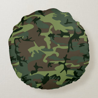 Cojín Redondo Modelo verde de Camo Brown del camuflaje