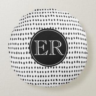 Cojín Redondo Monograma con los puntos en blanco y negro