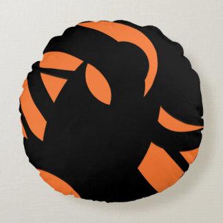 Cojín Redondo Naranja/negro del arte contemporáneo