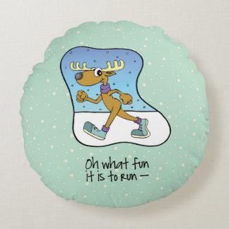 Cojín Redondo Navidad corriente del reno del ejercicio