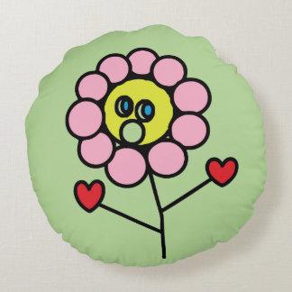 Cojín Redondo Niño de flor rosado adorable que dibuja alrededor