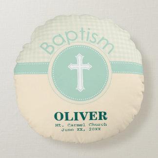 Cojín Redondo Niño del bautismo de dios, verde neutral del