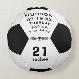Cojín Redondo Nombre del balón de fútbol y Stats personalizados