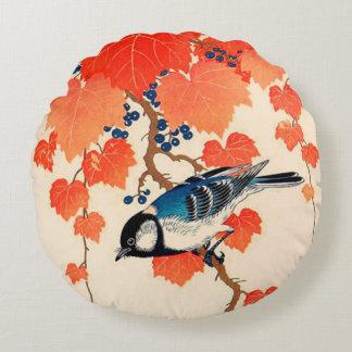 Cojín Redondo Pájaro de Jay del japonés del vintage y vid del