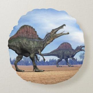 Cojín Redondo Paseo de los dinosaurios de Spinosaurus - 3D