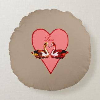 Cojín Redondo Patos de mandarín en amor