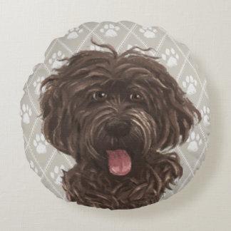 Cojín Redondo Pinturas del perro de Brown Labradoodle/amor de