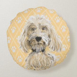 Cojín Redondo Pinturas del perro de Labradoodle/amor de