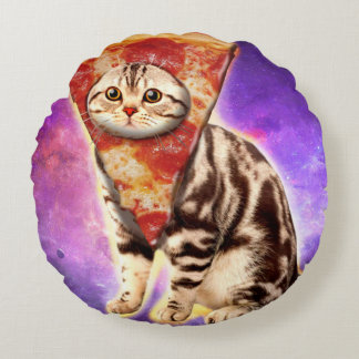 Cojín Redondo Pizza del gato - espacio del gato - memes del gato