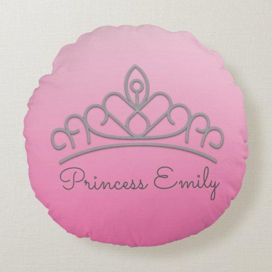 Cojín Redondo Princesa rosada personalizada linda Tiara Pillow