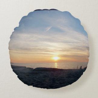 Cojín Redondo Puesta del sol en el lago