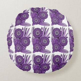 Cojín Redondo Ramo púrpura de la flor de la margarita del
