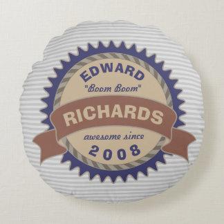 Cojín Redondo Rayas del logotipo del gris azul de Brown del