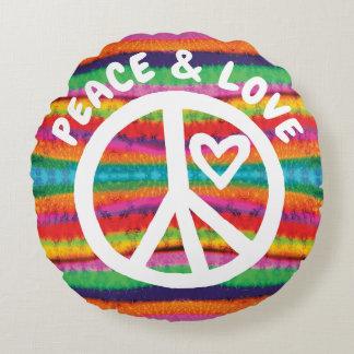 Cojín Redondo Rayas del teñido anudado de la paz y del amor