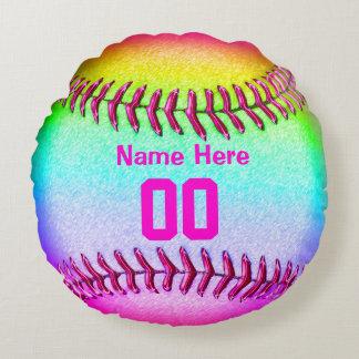 Cojín Redondo Regalos del equipo del softball con su nombre y