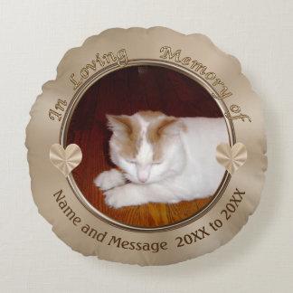 Cojín Redondo Regalos personalizados de la condolencia del gato,