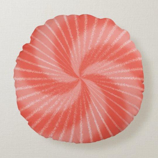 Cojín Redondo Remolino psicodélico rosado del teñido anudado