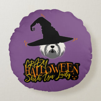 Cojín Redondo Señora loca Shih Tzu Mom de Halloween Shih Tzu