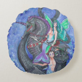 Cojín Redondo Sirena y Merman con el dragón del Seahorse y del