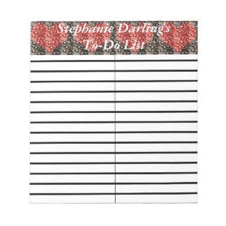 Cojín rojo de la lista del lío/de compras de bloc de notas