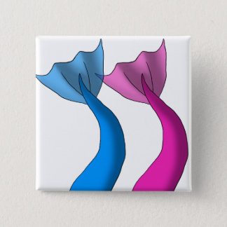 Colas de la sirena del azul y de las rosas fuertes chapa cuadrada