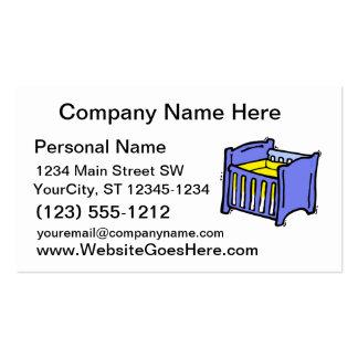 Colchón amarillo gráfico azul del pesebre del bebé plantilla de tarjeta de negocio