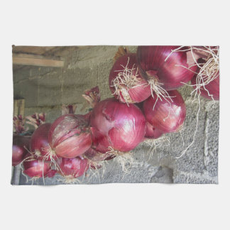Colección colgante de la cebolla roja toalla de mano