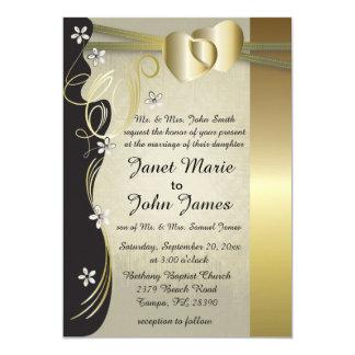 Colección con clase del boda del corazón del oro invitación 12,7 x 17,8 cm