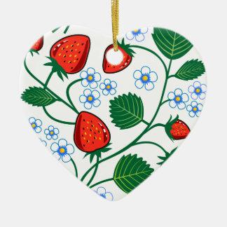Colección de la fresa de Emma Janeway Adorno Navideño De Cerámica En Forma De Corazón