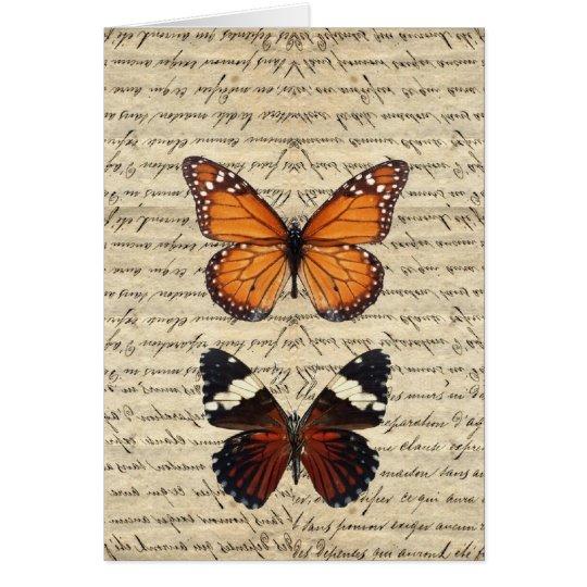 Colección de las mariposas del vintage tarjeta de felicitación