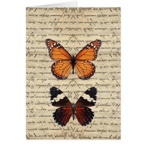 Colección de las mariposas del vintage tarjetas