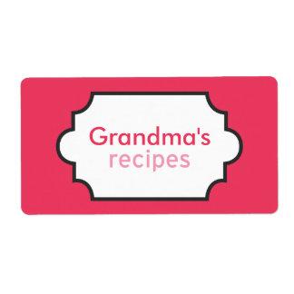Colección de las recetas de la abuela etiqueta de envío