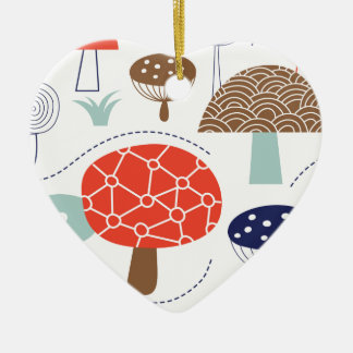 Colección de las setas de Emma Janeway Adorno Navideño De Cerámica En Forma De Corazón