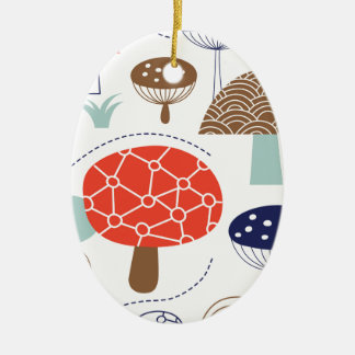 Colección de las setas de Emma Janeway Adorno Navideño Ovalado De Cerámica