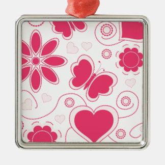 Colección de los corazones y de las flores de Emma Adorno Navideño Cuadrado De Metal